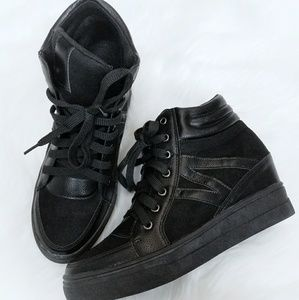 Angelina Deblossom Black Sneaker Wedge Lace up 11